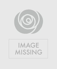 Bouquet of red roses, stargazer lilies, white snapdragons & white hydrangea in a glass vase.