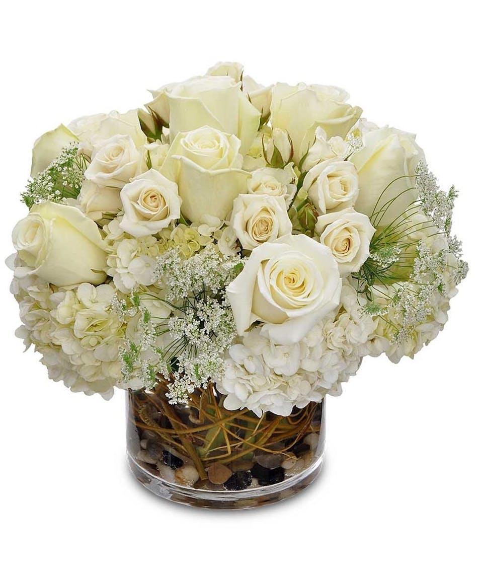 Fondness All White Sympathy Flowers Tulsa Ok Same Day Delivery