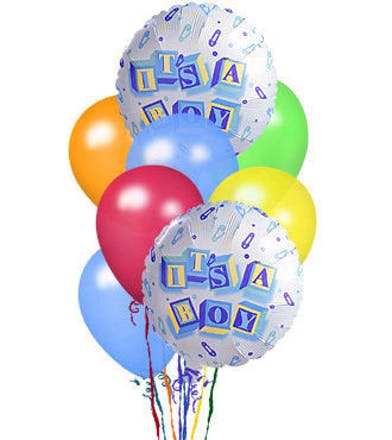 Latex balloons with mylar balloons that read