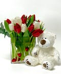 Ted E. Bear & Tulips by Mary Murray's Flowers
