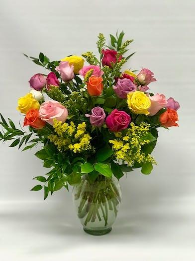 12 raindbow roses
