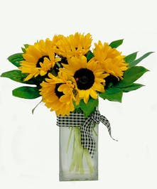 Tall square glass vase of sunflowers with lady bug decoration and checkered ribbon.