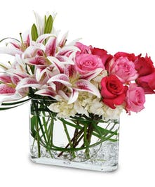 A lovely design of stargazers and roses