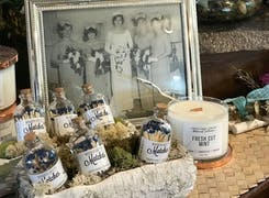 Decorative candles and essences are available in our showroom